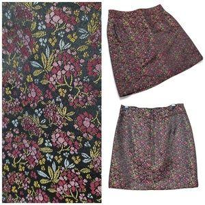 Loft black purple floral pencil skirt